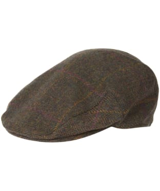 Men's Barbour Wool Crieff Flat Cap - Olive / Purple / Yellow