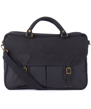 Barbour Wax and Leather Briefcase - New Black