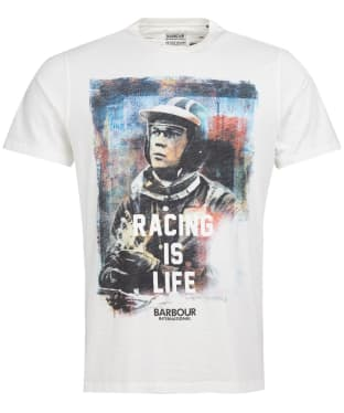 Men's Barbour International Steve McQueen Racing is Life Tee - Whisper White