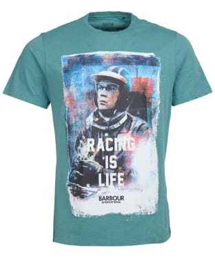 Men's Barbour International Steve McQueen Racing is Life Tee - Dusty Teal
