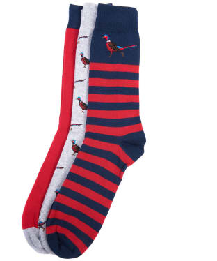 Men's Barbour Pheasant Multi Socks Set - Navy / Red