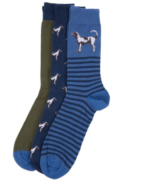 Men's Barbour Dog Multi Socks Set - Navy / Blue / Olive