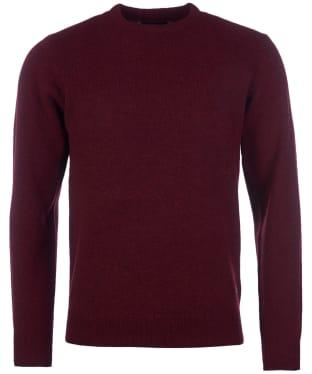 Men's Barbour Patch Crew Neck Lambswool Sweater - Merlot Marl