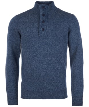 Men's Barbour Patch Half Button Lambswool Sweater - Inky Blue