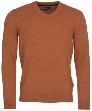 Men's Barbour Harrow V-neck Sweater - Dark Copper