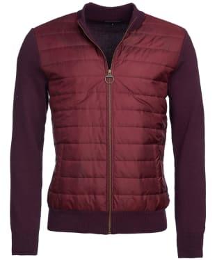 Men's Barbour Carn Baffle Zip Thru Quilted Sweater - Merlot