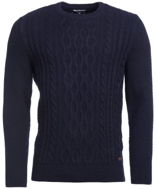 Men's Barbour Chunky Cable Crew Sweater - Navy