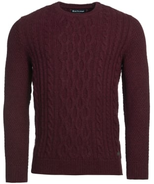 Men's Barbour Chunky Cable Crew Sweater - Merlot