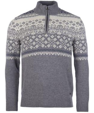 Men's Barbour Fairisle Half Zip Sweater - Mid Grey