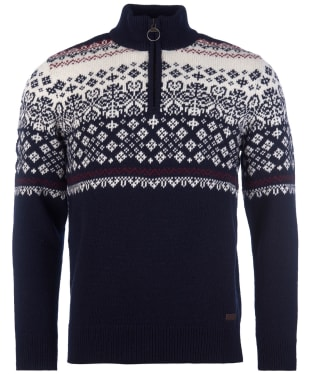 Men's Barbour Fairisle Half Zip Sweater - Navy