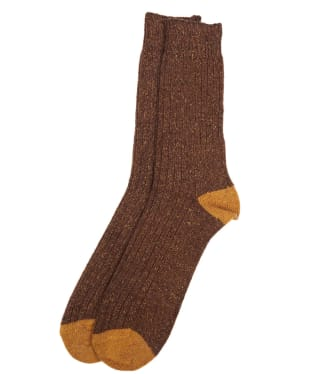 Men's Barbour Houghton Socks - Brown / Yellow
