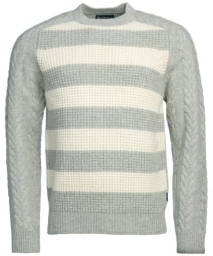 Men's Barbour Elver Cable Crew Sweater - Ecru Marl