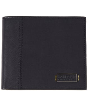 Men's Barbour International Waxed Leather Billfold Wallet - Black