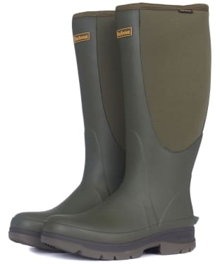 Men's Barbour Cyclone Neoprene Wellington Boots - Olive