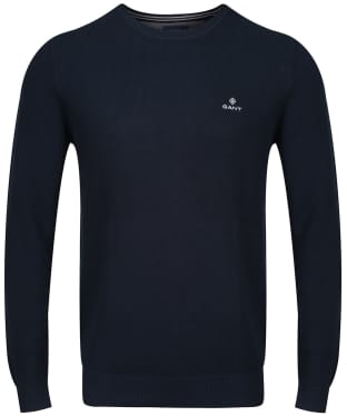 Men's GANT Cotton Pique Crew Neck Sweater - Evening Blue