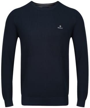 Men's GANT Cotton Pique Crew Neck Sweater - Evening Blue