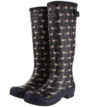 Women's Joules Printed Welly Boots - Navy Sausage Dog