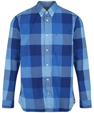 Men's Tommy Hilfiger Houndstooth Check Shirt - Phthalo Blue/Multi