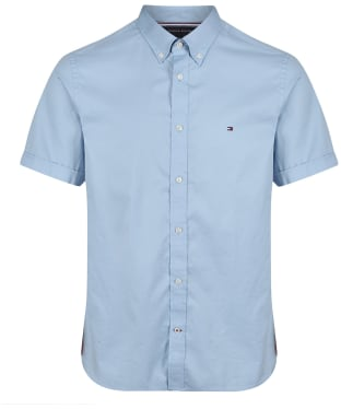 Men's Tommy Hilfiger Slim Fine Twill Short Sleeve Shirt - Calm Blue