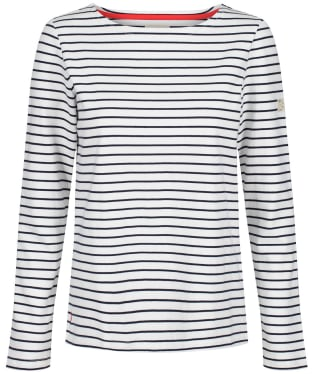 Women's Joules Harbour L/S Jersey Top - Cream / Navy Stripe