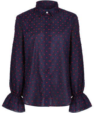 Women's GANT Smock Dot Shirt - Classic Blue