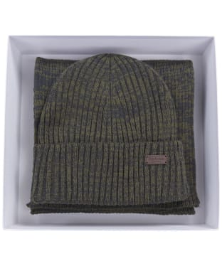 Men's Barbour Crimdon Beanie and Scarf Gift Set - Olive