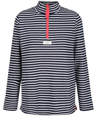 Women's Joules Pip Casual Half Zip Sweatshirt - Navy / Cream Stripe