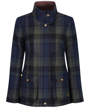 Women's Joules Fieldcoat Tweed Jacket - Green/Blue Tweed