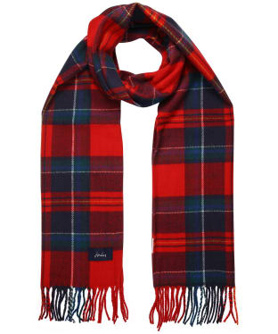 Women's Joules Bracken Woven Scarf - Red / Navy Check