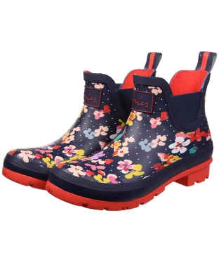 Women's Joules Wellibob Short Wellington Boots - Navy Blossom Spot