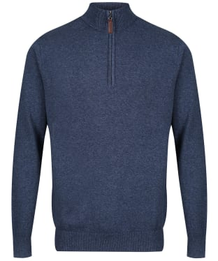 Men's Schoffel Cotton ¼ Zip Jumper - Dark Denim