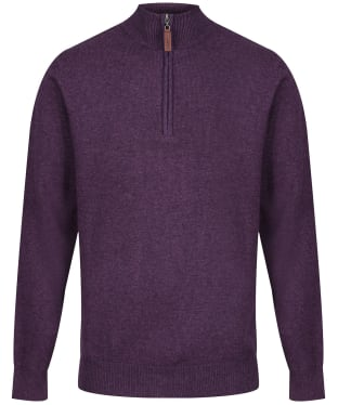 Men's Schoffel Lambswool ¼ Zip Sweater - Prune