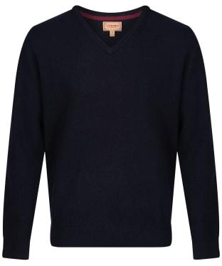 Men's Schoffel Lambswool V Neck Sweater - Navy