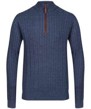Men's Schoffel Cotton Cashmere Cable 1/4 Zip Sweater - Dark Denim