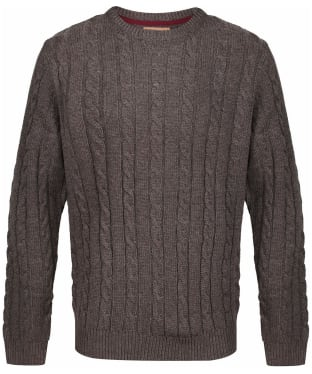 Men's Schoffel Lambswool Chunky Cable Crew Jumper - Mocha