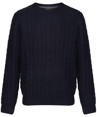 Men's Schoffel Lambswool Chunky Cable Crew Jumper - Navy