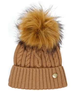 Women's Holland Cooper Cashmere Knitted Bobble Hat - Camel Marl