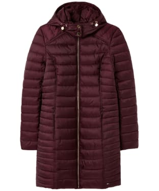 Women's Joules Canterbury Long Quilted Jacket - Plum
