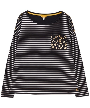 Women's Joules Marina Print Top - Navy / Cream Stripe