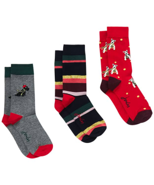Women's Joules Christmas Bamboo Sock 3-pack - Grey Xmas Dog