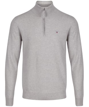 Men's GANT Super Fine Zip Sweater - Light Grey Melange