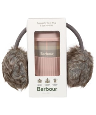 Women's Barbour Travel Mug & Earmuff Set - Pink