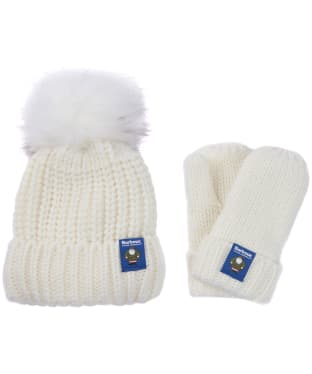 Children's Barbour Father Christmas Beanie & Mitten Gift Set - Winter White