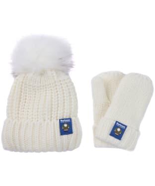 Children's Barbour Father Christmas Beanie & Mitten Gift Set - Winter White