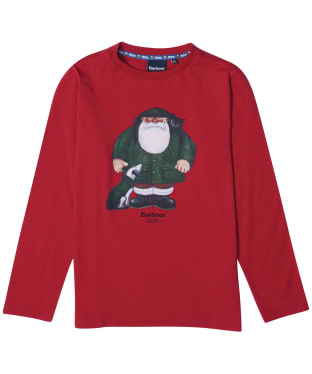 Boy's Barbour Father Christmas Rowan Tee - Chilli Red