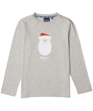 Boy's Barbour Father Christmas Hawthorn Tee - Grey Marl