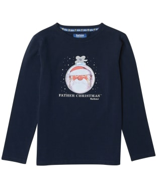 Girl's Barbour Father Christmas Annabel Tee - Navy