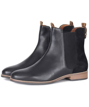 Women's Barbour Badminton Chelsea Boots - Black Leather / Suede