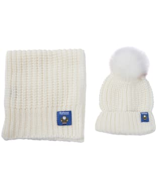 Women's Barbour Father Christmas Beanie and Scarf Giftset - Winter White