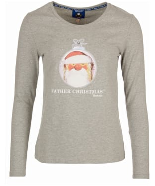 Women's Barbour Father Christmas Alice Tee - Light Grey Marl